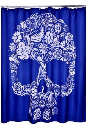 Skull-Print Waterproof Washable Shower Curtain 3 Colors-Loluxe