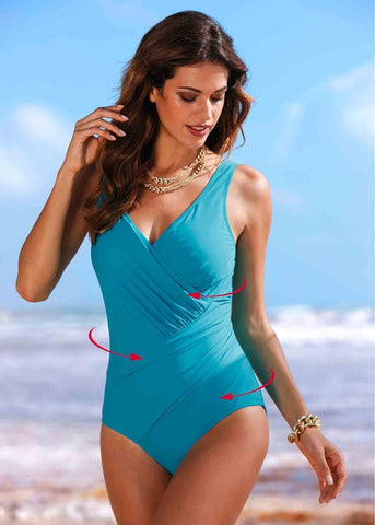 Slimming Criss-Cross Drape Vintage-Style One-Piece Bathing Suit 5 Colors M-4XL 5 Colors-Loluxe
