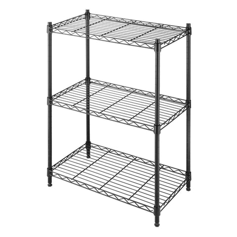 Small 3-Shelf Storage Rack Shelving Unit in Black Metal with Adjustable Leveling Feet-Accents > Shelving Units-Loluxe