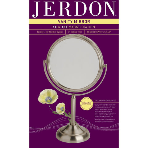 Small Round Table Top Vanity Mirror - 10X Magnification-Accents > Mirrors-Loluxe