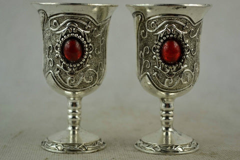 Small Silver Carved Miao Handwork Red Bead Wine Cup-Loluxe