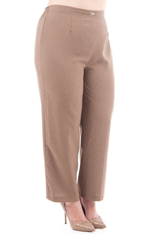 Smart Brown Trousers With Elasticated Waist-Clothing > Jeans & Trousers-Loluxe