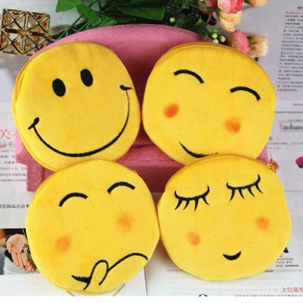 Smiley Face Pattern Plush Coin Purse-coin purse wallet clutch-Loluxe