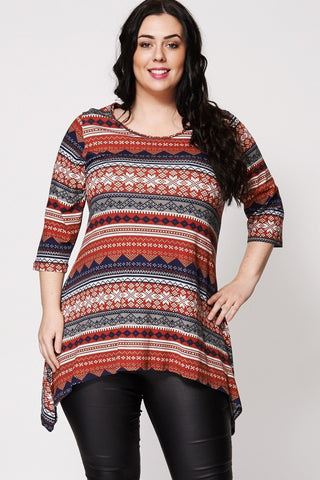 Snowflake Mix Print Hanky Hem Top-Plus Sizes-Loluxe