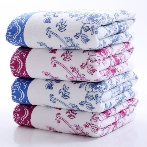 Soft Elegant Floral Design Print Cotton Bath Towels 2 Colors 2 Sizes-Loluxe