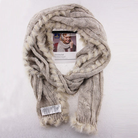 Soft Warm Thick Knitted Wool Fur Ladies Fashion Winter Scarf-Loluxe