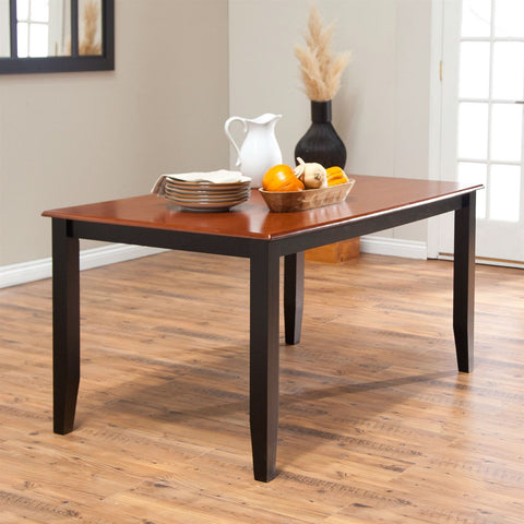 Solid Hardwood Two Tone Cherry / Black Dining Table - Seats up to 6-Dining > Dining Tables-Loluxe