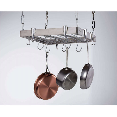 Square Stainless Steel Ceiling Hanging Pot Rack-Kitchen > Pot Racks-Loluxe