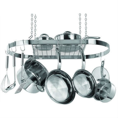 Stainless Steel Oval Pot Rack for Kitchen Cookware Storage-Kitchen > Pot Racks-Loluxe