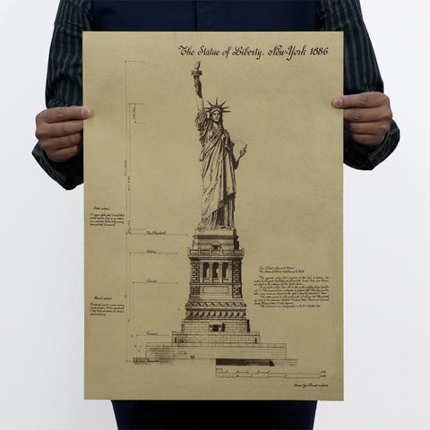 Statue of Liberty Retro Vintage USA Symbol Wall Decal Poster-Loluxe