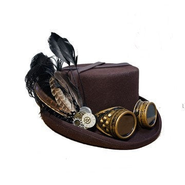 Steampunk Vintage Feather Cosplay Fedora Hat 2 Colors-Loluxe
