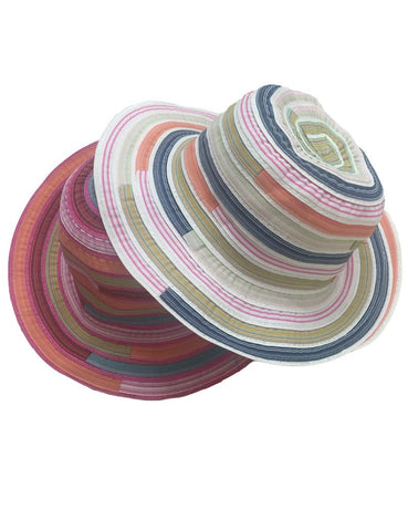 Striped Colorful Geometric Women's Fishing Bucket Hat 9 Colors-Loluxe
