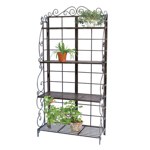 Sturdy Metal Bakers Rack Plant Stand in Brushed Bronze Black-Kitchen > Bakers Racks-Loluxe