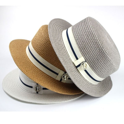 Stylish Women's Straw Banded Flat Summer Panama Beach Hat 3 Colors-Loluxe