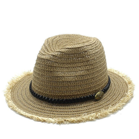 Summer Casual Leather Band Soft Straw Beach Hat 3 Colors-Loluxe