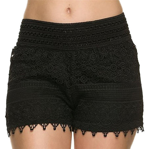 Summer Crochet Lace Elastic Waist Womens Shorts S-XL 2 Colors-Loluxe