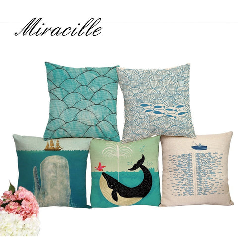 Summer Decorative Cotton Linen Blue Sea Pillow Cushion Covers 7 Designs-Loluxe