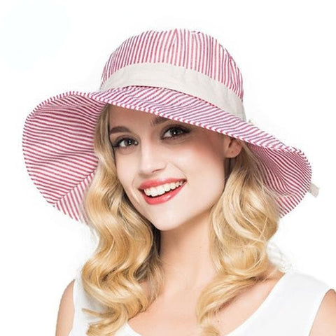 Summer Stripe Cotton Wide-Brim Floppy Summer Beach Hat 6 Colors-Loluxe