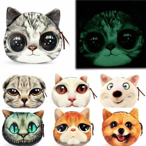 Super Cool Glow in the Dark 3D Cat/Dog Coin Purse-coin purse wallet clutch-Loluxe