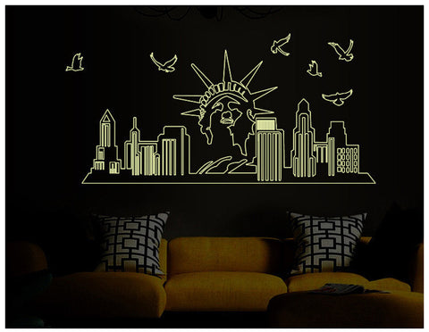 Super Cool Luminous Noctilucent New York City USA Wall Mural Decal Sticker Decor-Loluxe