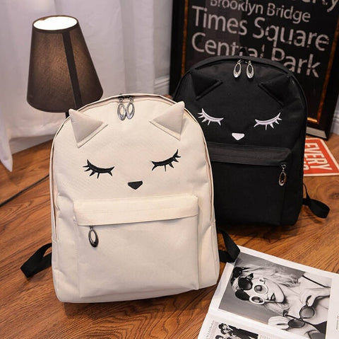 Super Cute Cartoon Embroidered Cat Ear Print Quality Large-Capacity Backpack 3 Colors-Loluxe