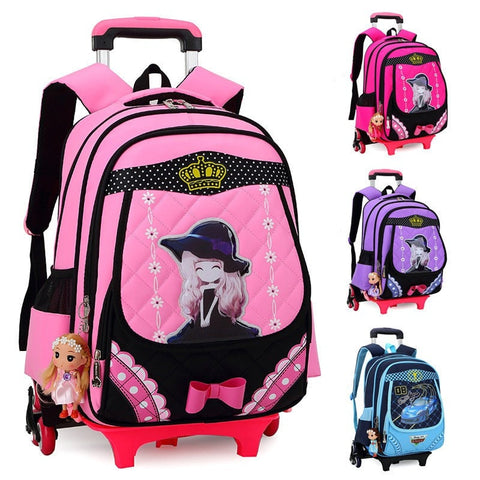 Super Cute High-Quality 3-Wheel Multifunctional Fashion Design Children's Backpack Luggage 3 Colors-Loluxe