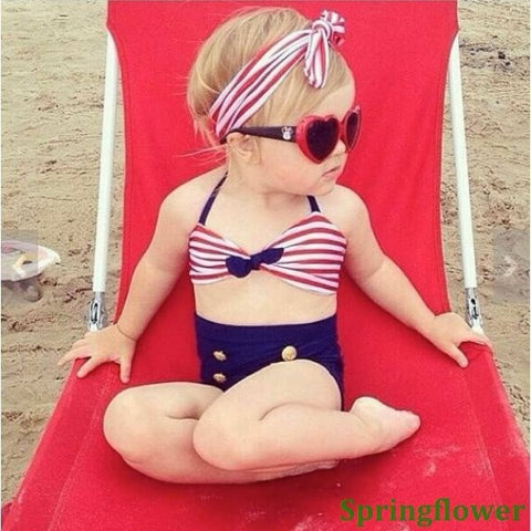 Super Cute High-Waisted Red, White & Blue Stripe Gold Button & Bowknot Accent 3-PC Bikini Bathing Suit 3 Colors Sizes 2-8-Loluxe
