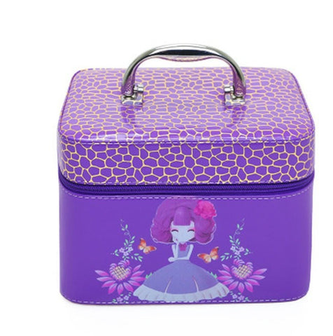 Super Cute NEW Cartoon Girl Floral PU Leather Portable Travel Makeup Vanity Case 5 Colors 2 sizes-Loluxe