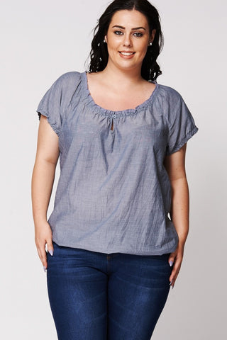 Super Cute Plus Size Blue Crochet Neckline Gypsy Top-Clothing > Tops-Loluxe