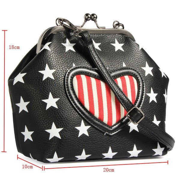 Super Cute PU Leather Stars Printing Crossbody Bag-Handbags-Loluxe