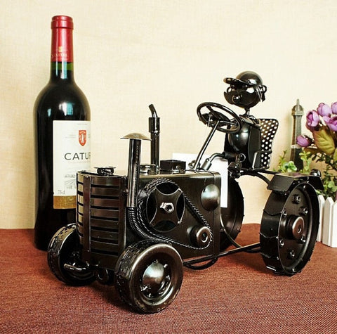 Superior Quality Handmade Iron Metal Tractor Wine Bottle Holder-Kitchen > Wine Racks and Coolers-Loluxe