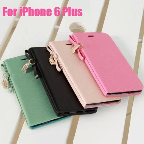 Sweet Heart Bowknot Cute PU Leather Flip Cover w/Card Holder & Stand Function for iPhone 6 Plus - 4 Colors-Loluxe