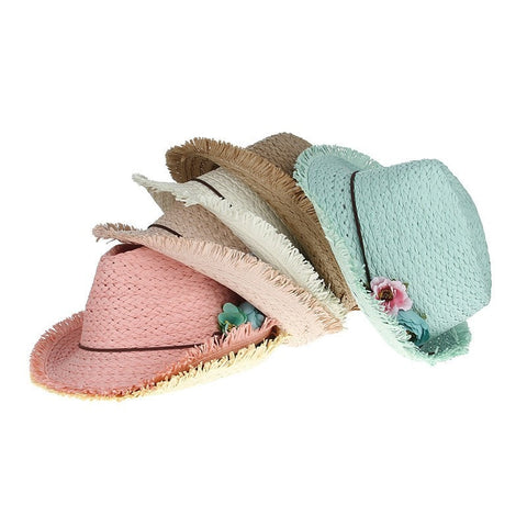 Sweet Little Handmade Knitted Floral-Accent Girls Straw Summer Beach Hat 6 Colors-Loluxe