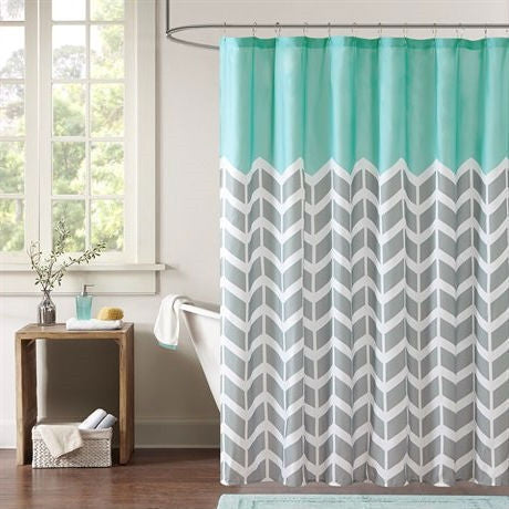Teal Grey White Zig Zag Chevron Microfiber Shower Curtain-Bathroom > Shower Curtains-Loluxe