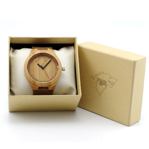 The Winter Coming Wolf Designer Bamboo Wood Wristwatches-Loluxe