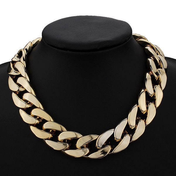 Thick Gold Chain Collar Statement Necklace Bracelet Anklet Jewelry-Loluxe