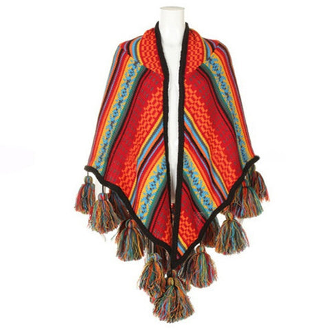 Thick Warm Fashion Multicolor Boho-Style Tassel Accent Cashmere Poncho Shawl Scarf-Loluxe