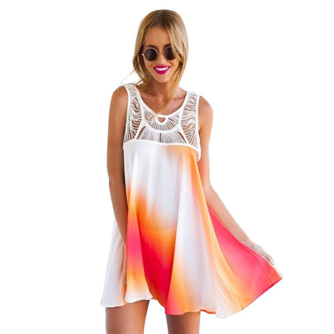 Tie-Dye A-Line Sleeveless Hollow-Out Mini Dress/Cover Up S-XL-Loluxe