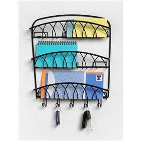 -Tier Letter Holder Organizer with Key Hooks in Black Metal Finish-Loluxe