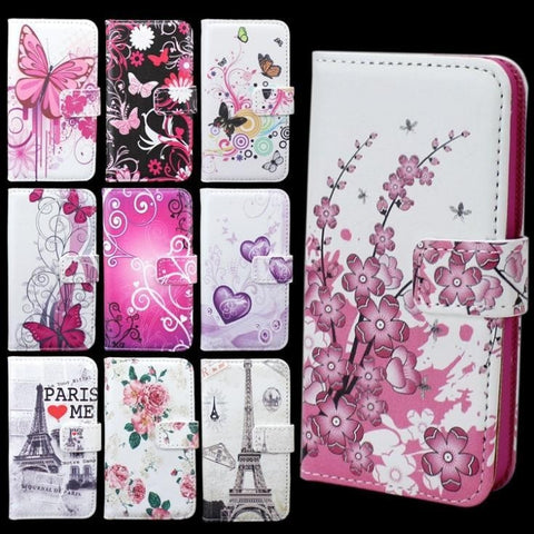 TPU Leather Flip Hard Cover Designer Print w/Stand Function & Card Slots for iPhone 5 5S - 10 Designs-Loluxe