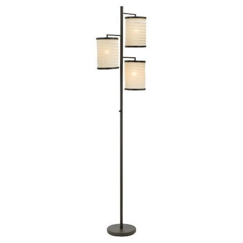 Tree Lamp 3-Light Floor Lamp in Antique Bronze & White Cotton Fabric Shades-Lighting > Floor Lamps-Loluxe