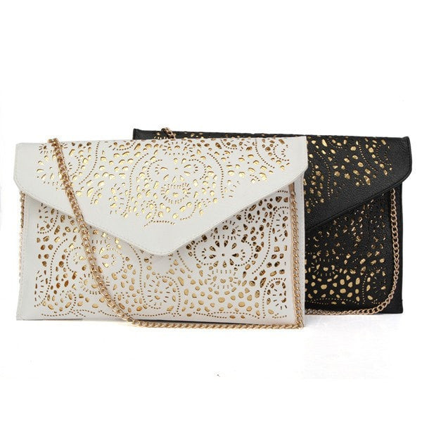 Trendy Cool Ladies Retro Leather Hollow Clutch/Handbag-coin purse wallet clutch-Loluxe
