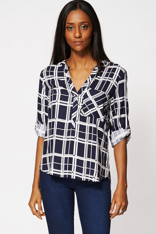 Trendy Navy Geometric-Print Tab-Sleeve Women's Blouse 6-12-Clothing > Shirts & Blouses-Loluxe