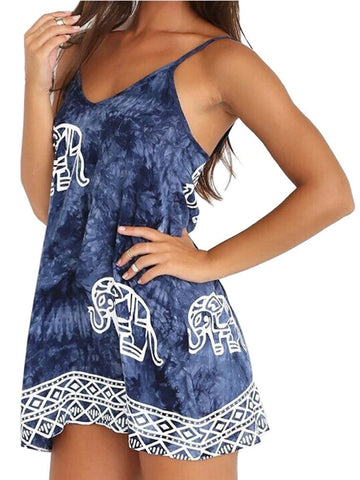 Trendy Sleeveless Strap Elephant-Print Beach Cover Up XS-3XL-Loluxe