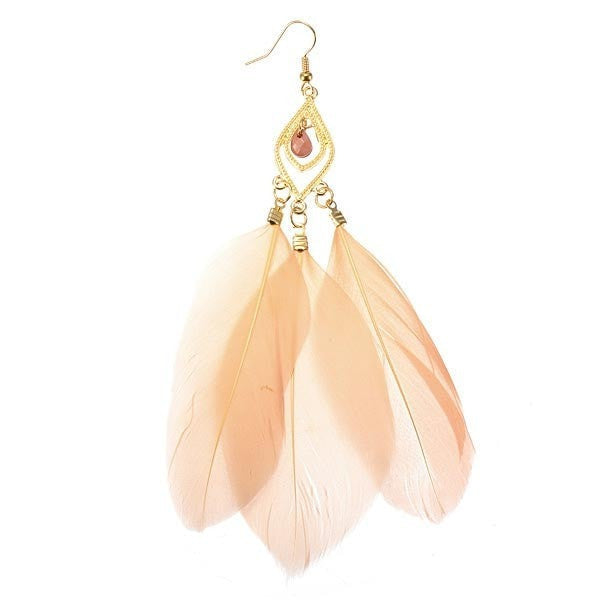 Trendy Vintage Metal Handmade Feather Long Drop Earrings-Loluxe