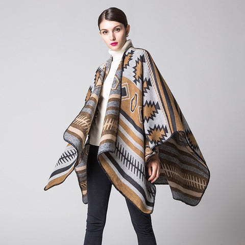 Tribal Fashion Print Thick Warm Large Shawl Poncho Scarf 5 Colors-Loluxe
