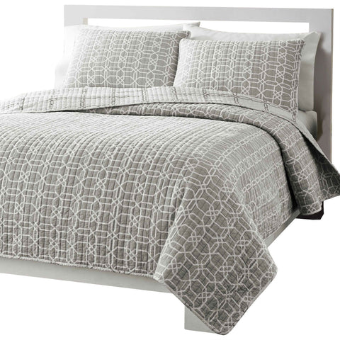 Twin Grey Geometric Medallion Reversible Cotton Coverlet Quilt Set-Bedroom > Quilts & Blankets-Loluxe