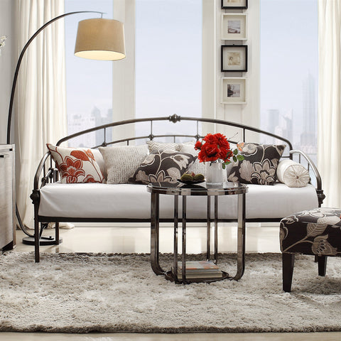 Twin Metal Daybed in Antique Dark Bronze Finish-Bedroom > Bed Frames > Daybeds-Loluxe