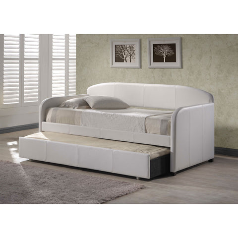 Twin Modern White Faux Leather Daybed with Roll-out Trundle-Bedroom > Bed Frames > Daybeds-Loluxe