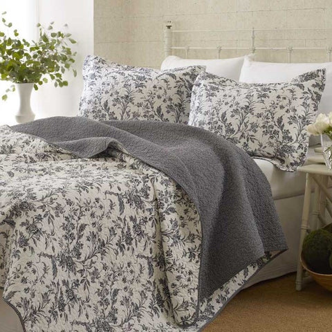 Twin size 100% Cotton 2-Piece Quilt Set with Coverlet & Sham in Gray White Floral Pattern-Bedroom > Quilts & Blankets-Loluxe